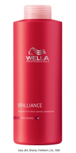 Wella Brilliance Shampoo Fine 1000ml Objemový šampon pro jemné barvené vlasy